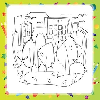 Дома и деревья - осень - векторная раскраска