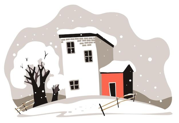 눈으로 덮인 집과 나무, 마을에 있는 가정의 겨울 풍경. 울타리와 헛간이 있는 시골 지역, 겨울철 계절 전망. 교외 또는 시골에 눈보라. 평면 스타일의 벡터