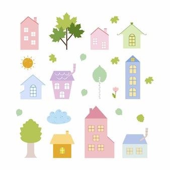 白い背景の上の家や木々。ベクトル落書きイラスト。子供のための描画、子供部屋の壁紙、ステッカー、本、塗り絵。
