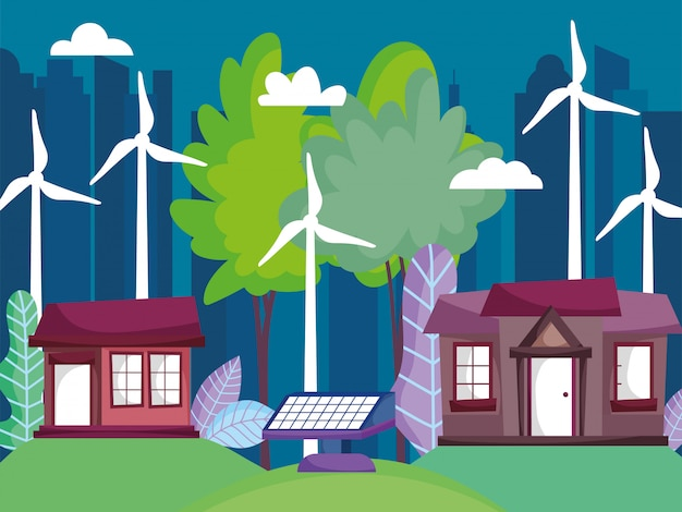 Houses and cityscape with wind turbine and solar panel