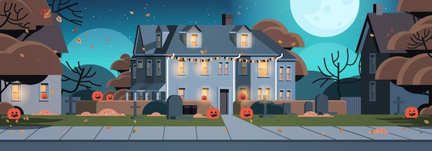 Дома, украшенные для празднования праздника хэллоуина, домашние здания, вид спереди с различными тыквами, горизонтальная векторная иллюстрация