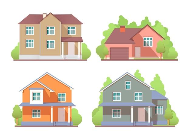 Houses exterior set.