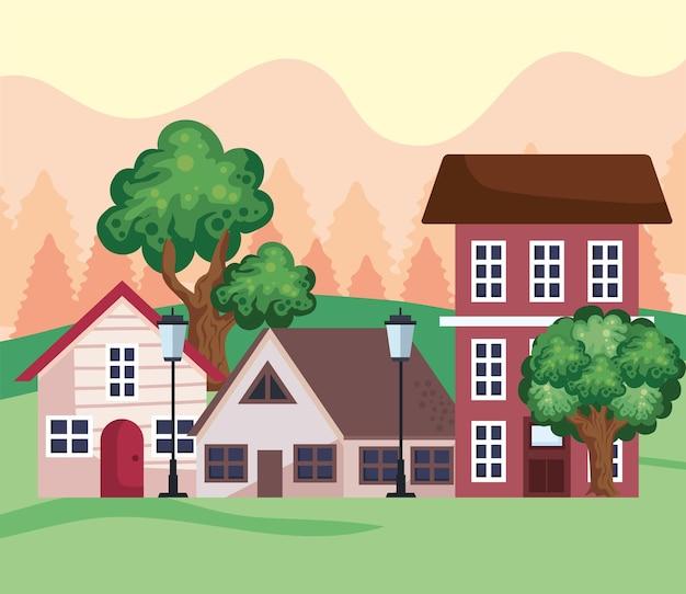Houses in field