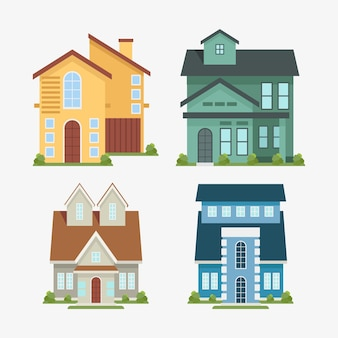 Houses flat design illustrations collection