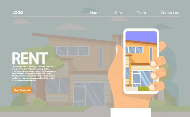 Аренда домов. понятие недвижимости. шаблон целевой страницы