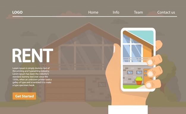 賃貸住宅。アプリケーションの家の選択をスマートフォンが手にしてくれます。不動産のコンセプト。農村の建物。
