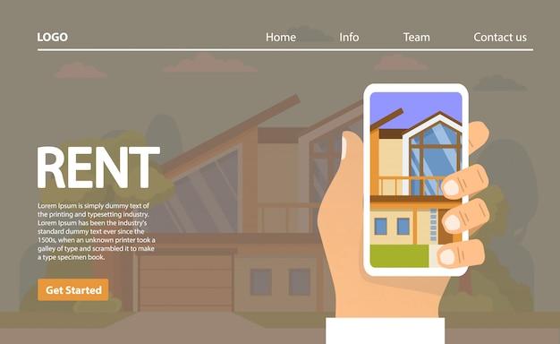 賃貸住宅。アプリケーションの家の選択をスマートフォンが手に留めます。不動産のコンセプト。農村の建物。