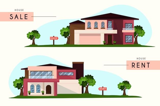 판매 및 임대 주택 세트