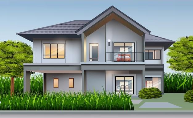 Иллюстрация дома вид спереди