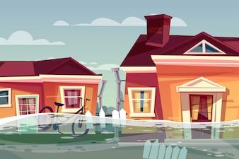 Houses in flood illustration of buildings under deluge water flowing in street.