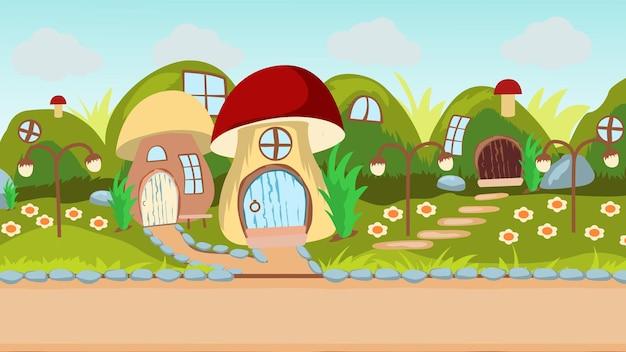 전경의 도로와 언덕을 배경으로 버섯 형태의 주택.
