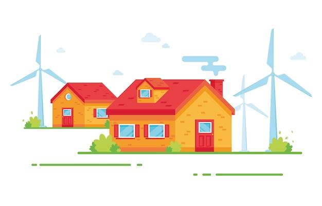 村の家。田舎。風の強い塔。風力エネルギー。自然を気遣う。エコ、エコロジージェネレーター。赤と黄色