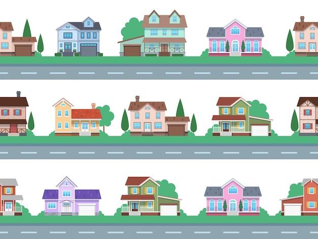 도로에 주택입니다. 집 정면, 코티지 또는 교외 타운하우스, 차고와 테라스가 있는 전면 전망 패밀리 하우스, 건축 부동산 현대적인 디자인, 만화 원활한 플랫 벡터 패턴 및 테두리