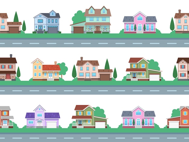 Houses on road. home facades, cottage or suburban townhouse, front view family house with garage and terrace, architecture real estate modern design, cartoon seamless flat vector pattern and borders