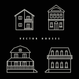 Houses set drawn white outline on a black background.