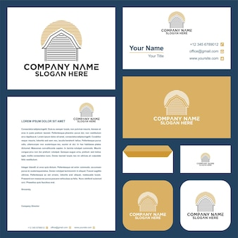 Houses silhouette logo and business card premium