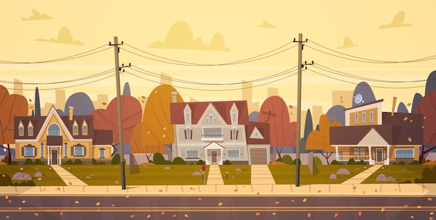 Houses suburb of big city in autumn, cottage real estate cute town concept