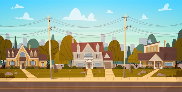 Houses in suburb of big city in summer, cottage real estates cute town concept