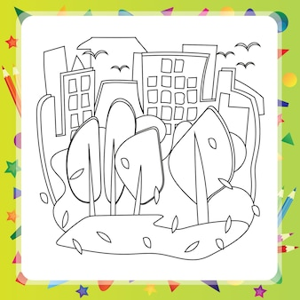 Houses and trees - autumn - vector coloring book