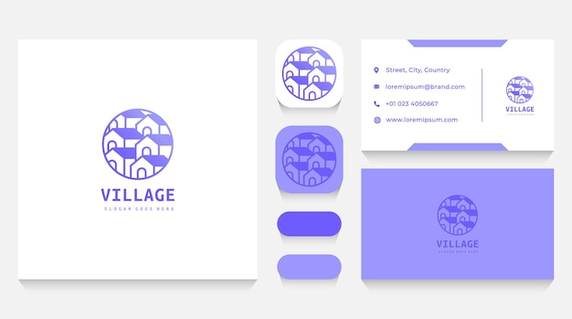 Houses village logo template and business card