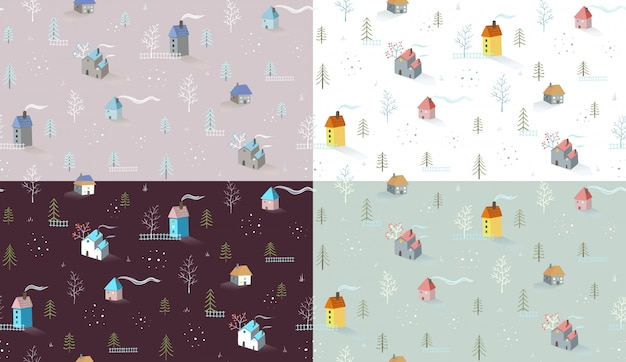 Houses village and rural landscape seamless pattern background set in different colors.