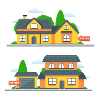 Houses with garage sale and rent concept