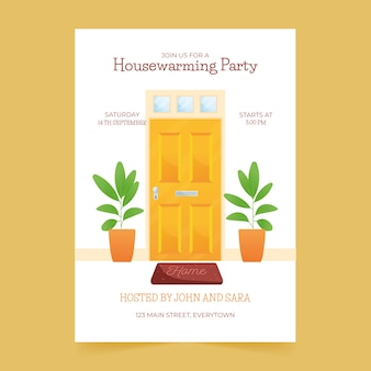Housewarming party invitation illustrated template