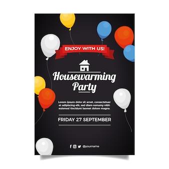 Concetto del modello dell'invito del partito di inaugurazione di una nuova casa