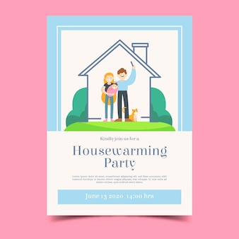 Housewarming party invitation template with couple