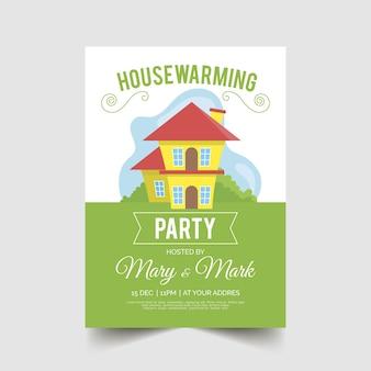 Modello dell'invito del partito di inaugurazione di una nuova casa con la casa illustrata