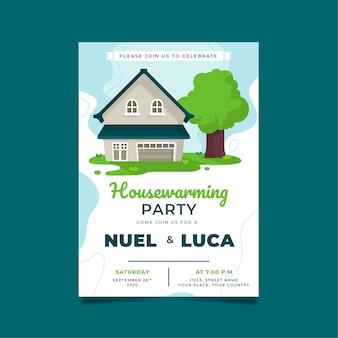 緑豊かな庭園と木と新築祝いパーティー