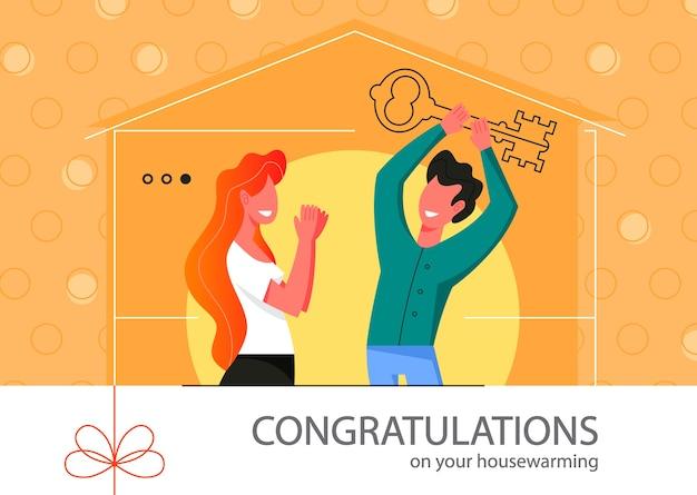 집들이 포스터, 배너 또는 카드. 그들의 새 집에 대 한 키와 함께 행복 한 커플. 부동산 기관 개념. 집을 사는 아이디어.