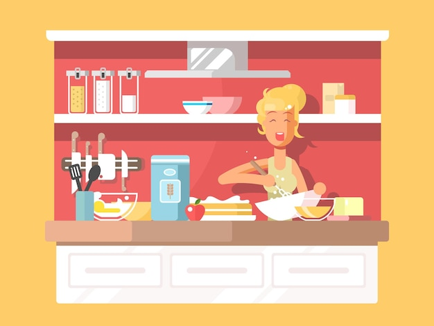主婦がケーキを焼きます。キッチンで料理、デザートベーキング、ベクトルイラスト