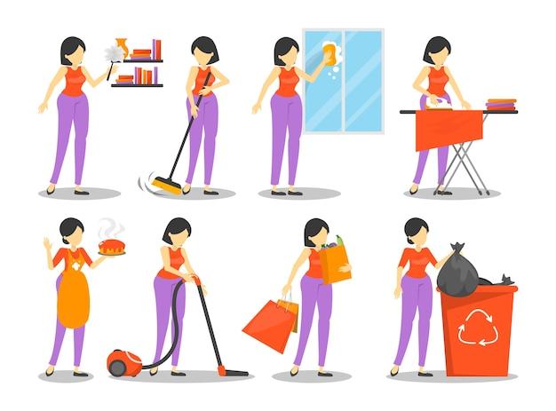 주부는 집 세트를 청소하고, 여자는 앞치마에 파이를 요리하고 진공 청소기로 바닥을 청소합니다. 국내 가사. 여성 캐릭터 다림질.