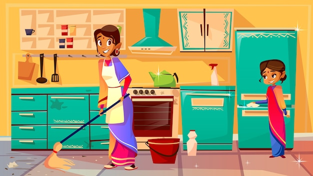 Housewife cleaning kitchen illustration of indian mother in sari mopping floor and daughter