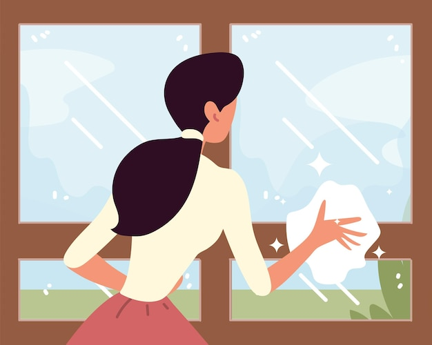 Housewife cleaning window