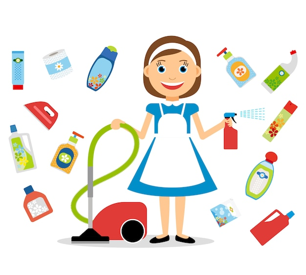 Housewife and home cleaning icons