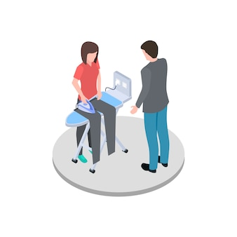 Housewife ironing her husband pants isometric vector
