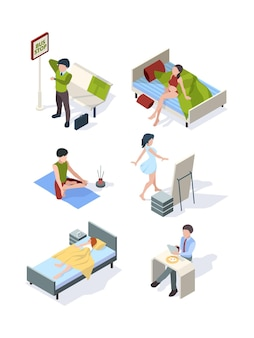 Housewife making homework everyday processes sleeping eating at kitchen fitness isometric set.