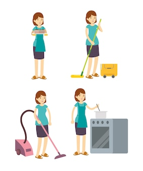 Housewife mother cleaning, cooking, and working