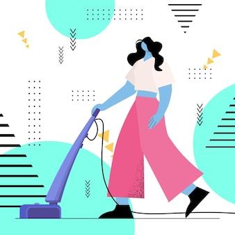 가사 청소 서비스 개념을 하는 진공 청소기 소녀를 사용하여 바닥을 진공 청소기로 청소하는 주부