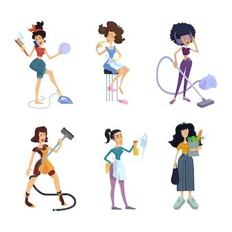 Комплект плоских мультяшных домохозяек. женщины делают домашние дела. типы личностей знаков зодиака. готовые к использованию шаблоны наборов 2d комиксов для рекламы, анимации, печати