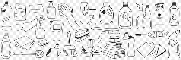 Housework equipment and tools doodle set