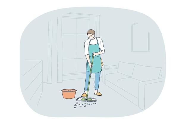 가사, 가정 도우미, 직업 개념. 앞치마 세척 바닥에 젊은 남자 전문 청소기