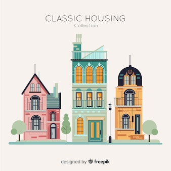 Housing collection in flat style