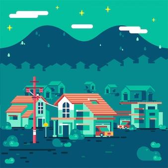 山のイラストと夜の田舎の団地