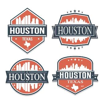 テキサス州ヒューストン旅行とビジネスのスタンプデザインのセット