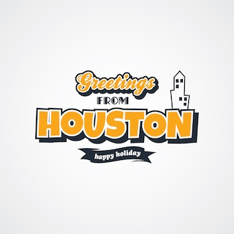 Houston vacation greetings theme vector art illustration