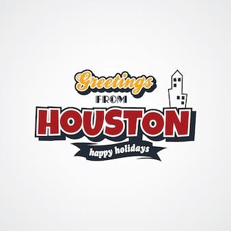 Houston vacation greetings theme vector art illustration