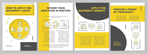 How to apply for maternity leave yellow brochure template. flyer, booklet, leaflet print, cover design with linear icons. vector layouts for presentation, annual reports, advertisement pages